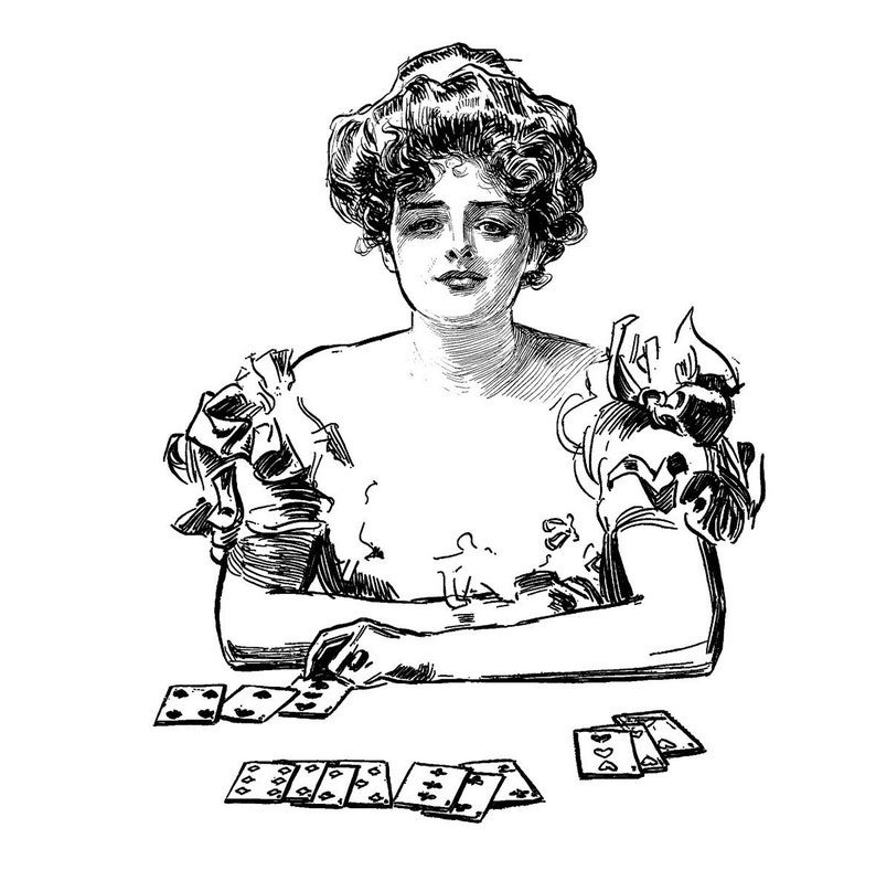 Playing solitaire Vintage engraving portrait by C.D.Gibson  FLONZ clear acrylic stamps Gibson Girl 20