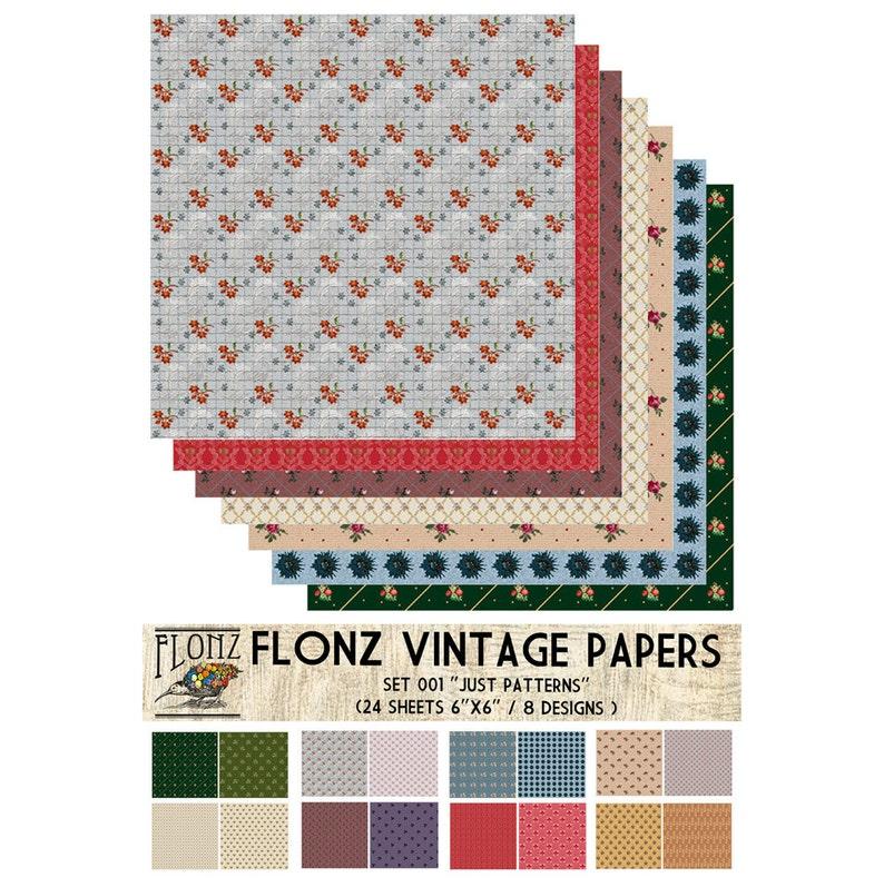 "Paper 24sh 6/""x6/"" # Rococo Floral Pattern Vintage # FLONZ Craft Scrapbooking 003"