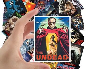 "Large Stickers (each sticker 2.5""x3.5"", pack 24 stickers) Zombie Skeleton Undead Vintage Horror Movie Poster FLONZ S-1003"