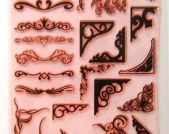 "Damask Art Deco Borders and Corners / Vintage clr stamps large sheet (7""x10"") UM FLONZ 403-79"