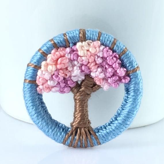 Handmade unique brooch Dorset button winter snow tree