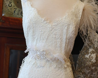 Vintage Inspired romantic Lace wedding dress bridal gown sz 14