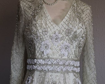 Wedding dress art deco 1920s 1930s poet sleeve bridal gown