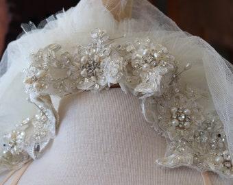 7c77c542fa7 Wedding tiara crown head piece veil bridal crown flapper tiara 1920s tiara vintage  inspired veil wedding veil