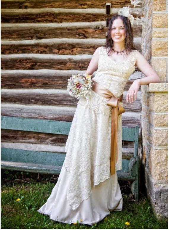 Vintage Handmade Bridal Gown Wedding Dress Lace Corset Top Etsy