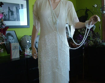 1920s Flapper Fringed wedding dress Great Gatsby  Boardwalk Empire Reception alternative dress