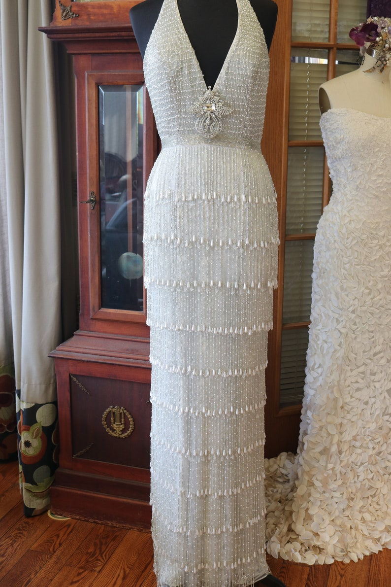 5c3203d0bb5 Beaded pearl fringe wedding dress flapper 1920s gown art deco
