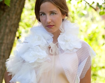 Wedding dress bolero jacket wrap Custom made vintage inspired Tulle point d'esprit wrap stole shawl handmade flowers
