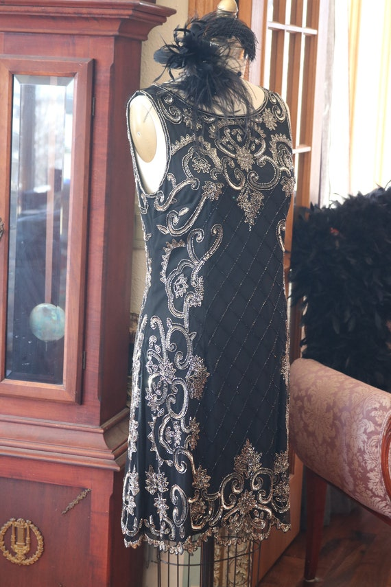 1920s 1930s style flapper beaded dress beaded Down
