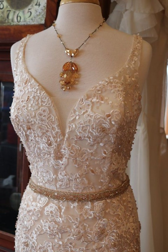Wedding Dress Mermaid Fit N Flare Bridal Gown Lace Beadwork Champagne Lace