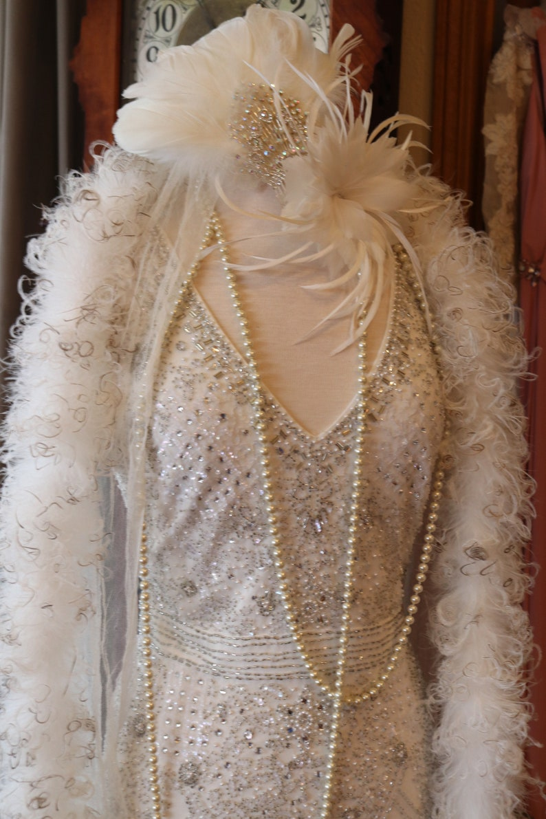 Vintage Style Wedding Dresses, Vintage Inspired Wedding Gowns Gatsby 1920s flapper wedding dress Downton Abbey beaded art deco bridal gown $425.00 AT vintagedancer.com