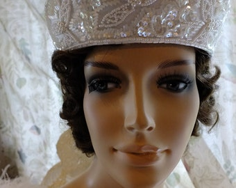 Great Gatsby 1920s flapper wedding beaded head piece