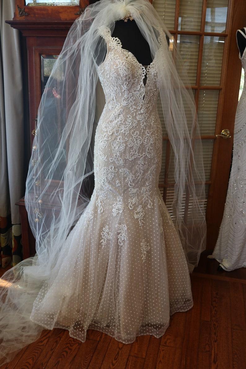 7b877ac1f96fe Beaded lace keyhole mermaid sparkling wedding dress bridal | Etsy