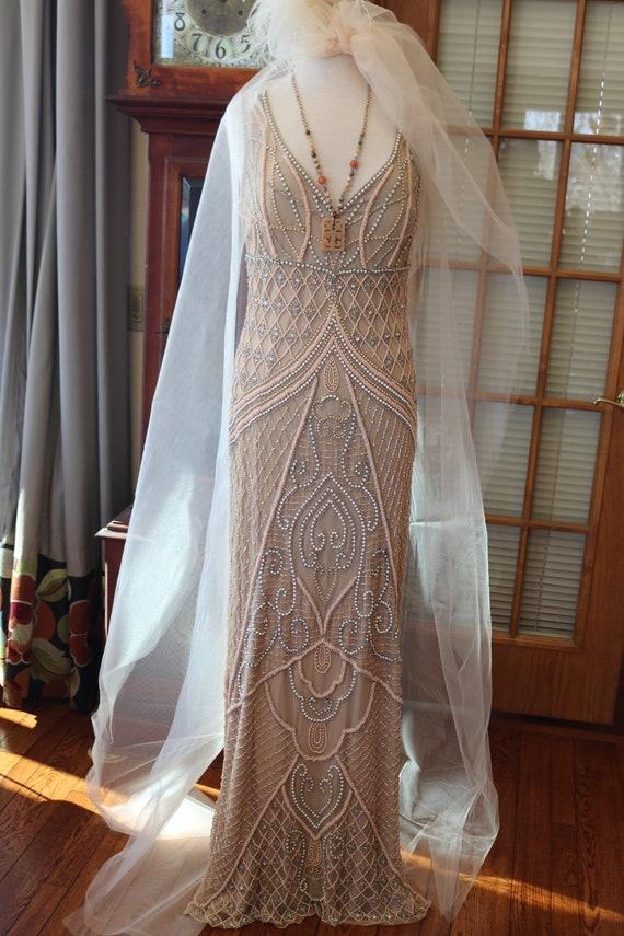 Creamy peach beaded wedding dress art deco 1930s v