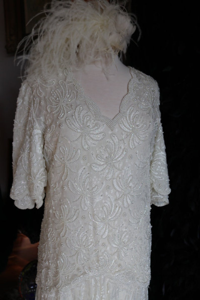 5ff06d180bb Pearl Encrusted lace 1920s flapper great gatsby wedding dress