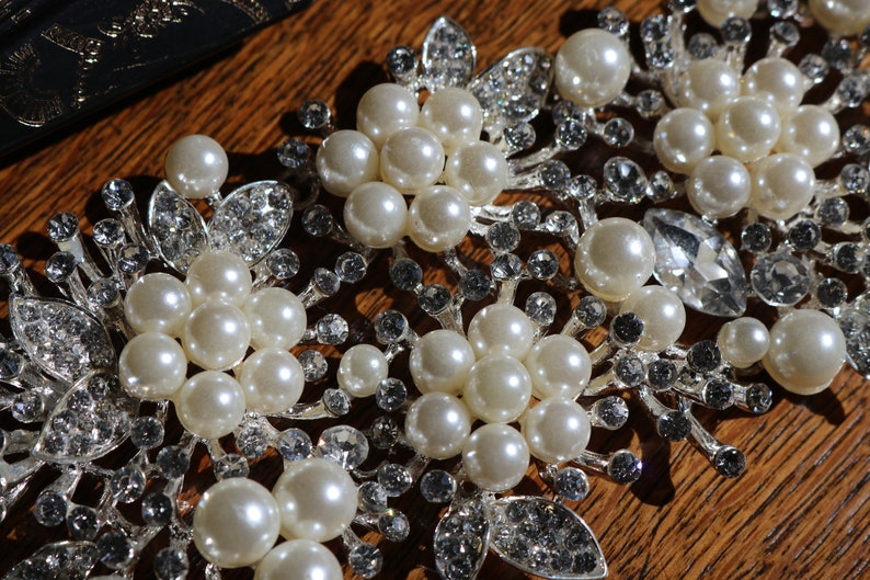1920s 1930s Flapper gatsby pearl rhinestone beaded wedding head piece tiara veil