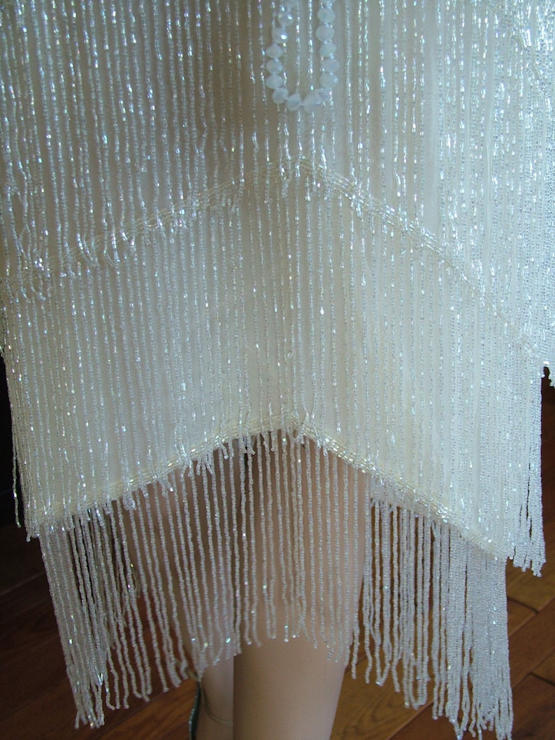 6516f7937a0 1920s Flapper Fringed wedding dress Great Gatsby Boardwalk