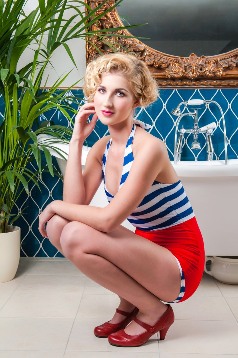 1920s Swimsuits- Women & Mens- History, Sew and Shop 1920s 1930s two tone stripes Bathing Suit. Vintage swimwear $116.93 AT vintagedancer.com