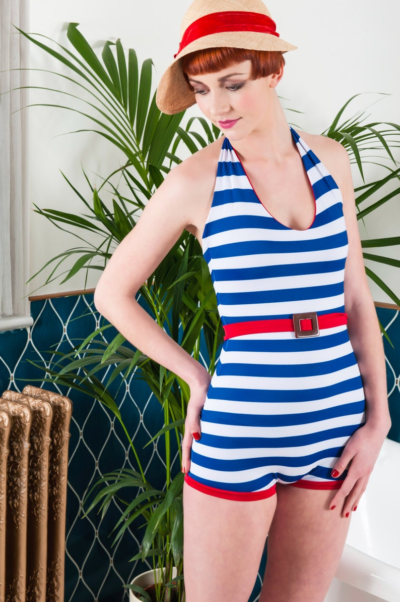 1920s Swimsuits- Women & Mens- History, Sew and Shop Vintage swimwear. Nautical 1920s 1930s Bathing Suit $123.42 AT vintagedancer.com