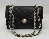 Double Flap Classic Style Genuine Leather Shoulder Bag, Leather Lining Elegant Handbag, Quilted Evening Bag, Timeless Fashion Crossbody Bag