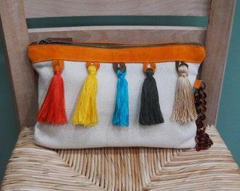 Tassel Clutch Bag, Summer Bag, Colourful Eco Bag, Vegan Bag, Trendy Clutch Bag, Bohemian Clutch, Tassel Clutch, Handmade Clutch, Greece