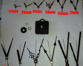 Quartz  clock movement complete with hands and fixings. Quiet running sweep movement