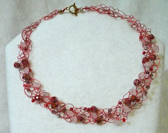 Bead and Red Wire Necklace