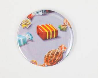 Sweets - A Pocket Mirror made from a Vintage Ladybird Book, 58mm 2.3 Inches