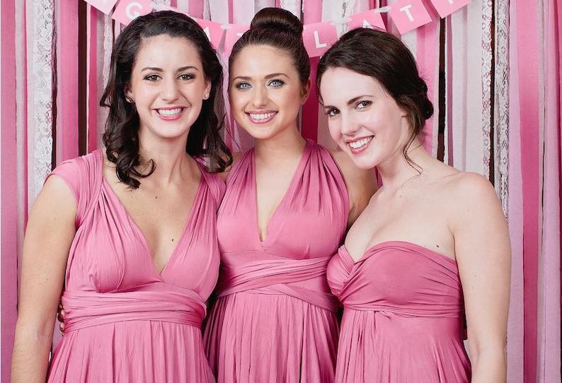 ec487cde6f0 Dusty Rose Pink Bridesmaid Dress Convertible Infinity Wrap