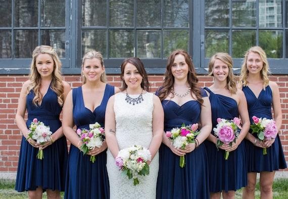 97fbfe8a32f6 Navy Blue Convertible Bridesmaid Dresses | Etsy