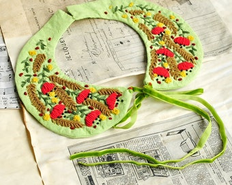 Hand embroidered Peter Pan Collar, pastel spring summer necklace, hand embroidery, delicate feminine romantic, floral flowers unique wedding