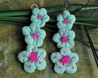 Oversized, Statement, long lightweight earrings , hand embroidered, romantic, large,floral, victorian earrings - Spring in bloom