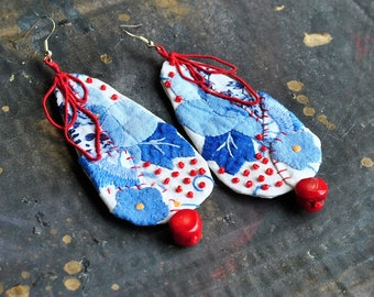 Oversized, statement, long lightweight earrings , hand embroidered, romantic, large,floral, fabric textile earrings - chinese porcelain