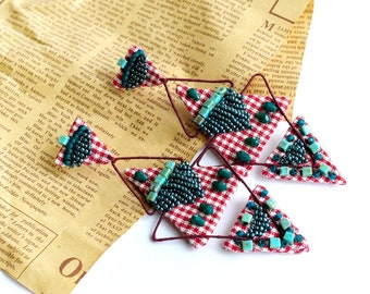 RESERVED LISTING long lightweight earrings , hand embroidered, aztec tribal geometric triangle, country, fabric textile fabric earrings
