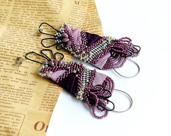 Oversized, statement, long lightweight earrings , hand embroidered, romantic, elegant, glamour, fabric textile silk earrings