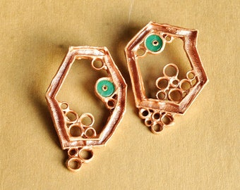 Statement, organic, geometric, contemporary, ooak one of a kind, large earrings, urban modern, structural, architectural: The green dot