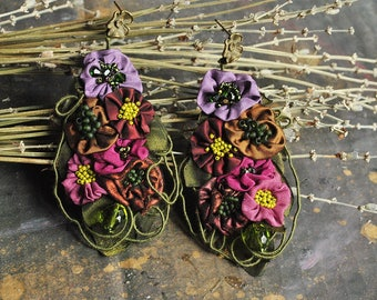 RESERVED LISTING Statement, long lightweight earrings , hand embroidered, romantic, large,floral, fabric textile earrings - i fall again
