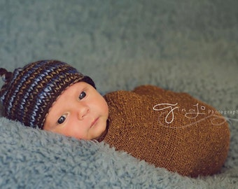 9a5cb9945ce Newborn Blue Brown Striped Beanie with tie knot