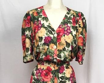 56cac106ab90 Vintage 80s CAROL ANDERSON Floral Rayon Dress Colorful Spring Feminine  Easter Full Sweep Wedding Midi 11   12 M   L
