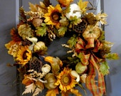 Fall Wreath For The Front Door, Pumpkin Wreath, Wreath , Fall Wreath , Thanksgiving Wreath ,  Wreath For The Door , Outdoor Fall Wreath