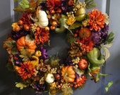Wreath For Fall , Wreath For The Door, Rustic Autumn Wreath , Fall Autumn Door Decor , XL Fall Wreath Wreath , Farmhouse Wreath
