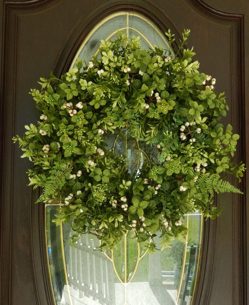 Summer Wreath Wreath Year Round Boxwood Wreath Front Door Wreath Fern Wreath Spring Wreath