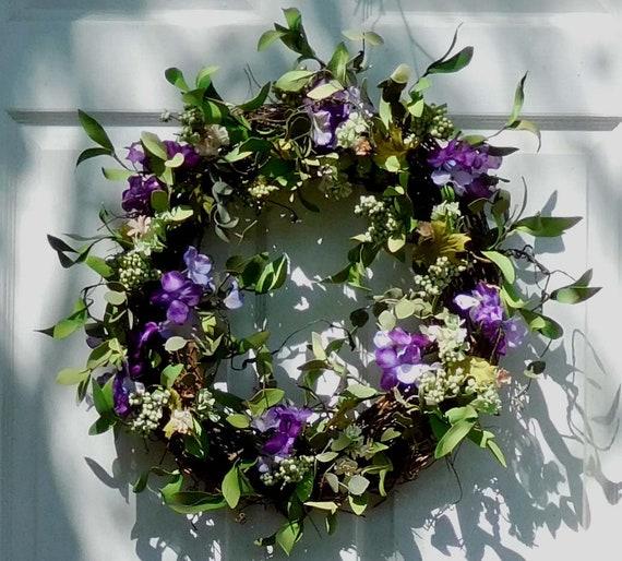 Spring Door Wreath Door Wreath Purple Wreath Spring | Etsy