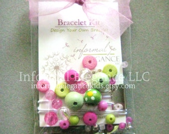 DIY Girls Bracelet Kit, Pink and Green Beads, Great for party favors, flower girls, etc, DIY Pink and Green