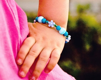 Blue Bracelet with Flowers GB 109