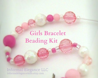DIY Girls Bracelet Kit, Pink and White Beads, Great for party favors, flower girls, etc, DIY Pink and White