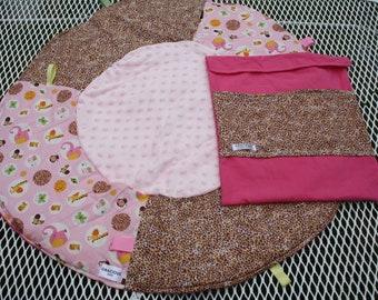 Travel Play Mat pink safari print baby tummy time baby shower gift
