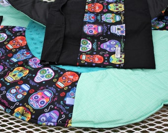 Travel Play Mat day of the dead skulls baby tummy time baby shower gift with toy tag block