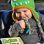 Monster Crochet Earflap Hat with Googly Eyes