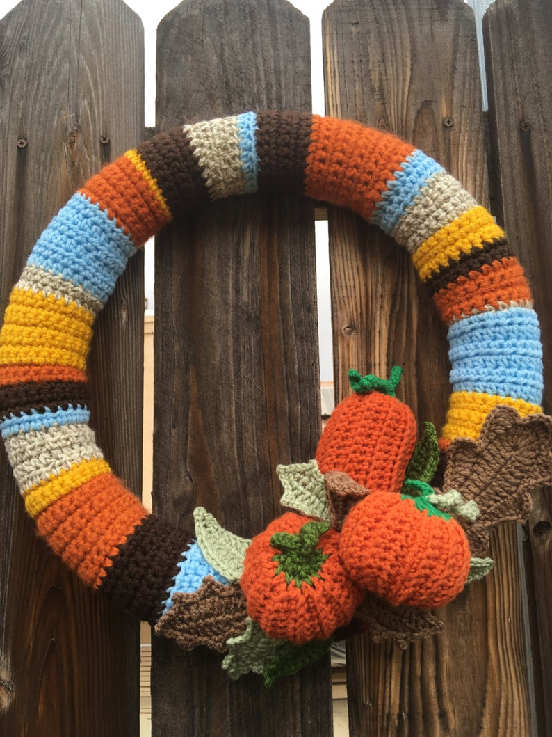 Autumn Wreath Crochet Fall Decor Door Decoration image 0